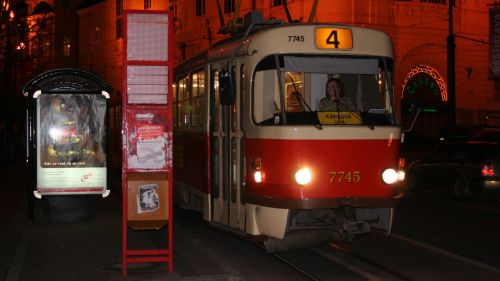 Tram Station by Night with Tram Line 4 in Bratislava © echonet.at / rv